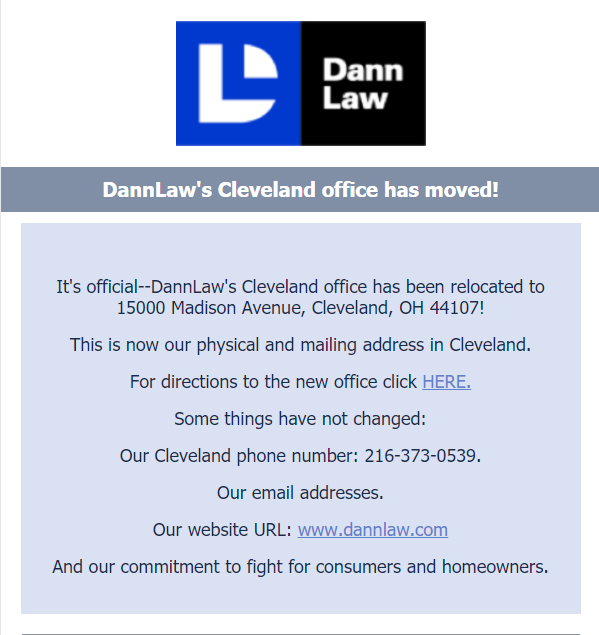 DannLaw new address 15000 Madison Avenue, Cleveland, Ohio 44107